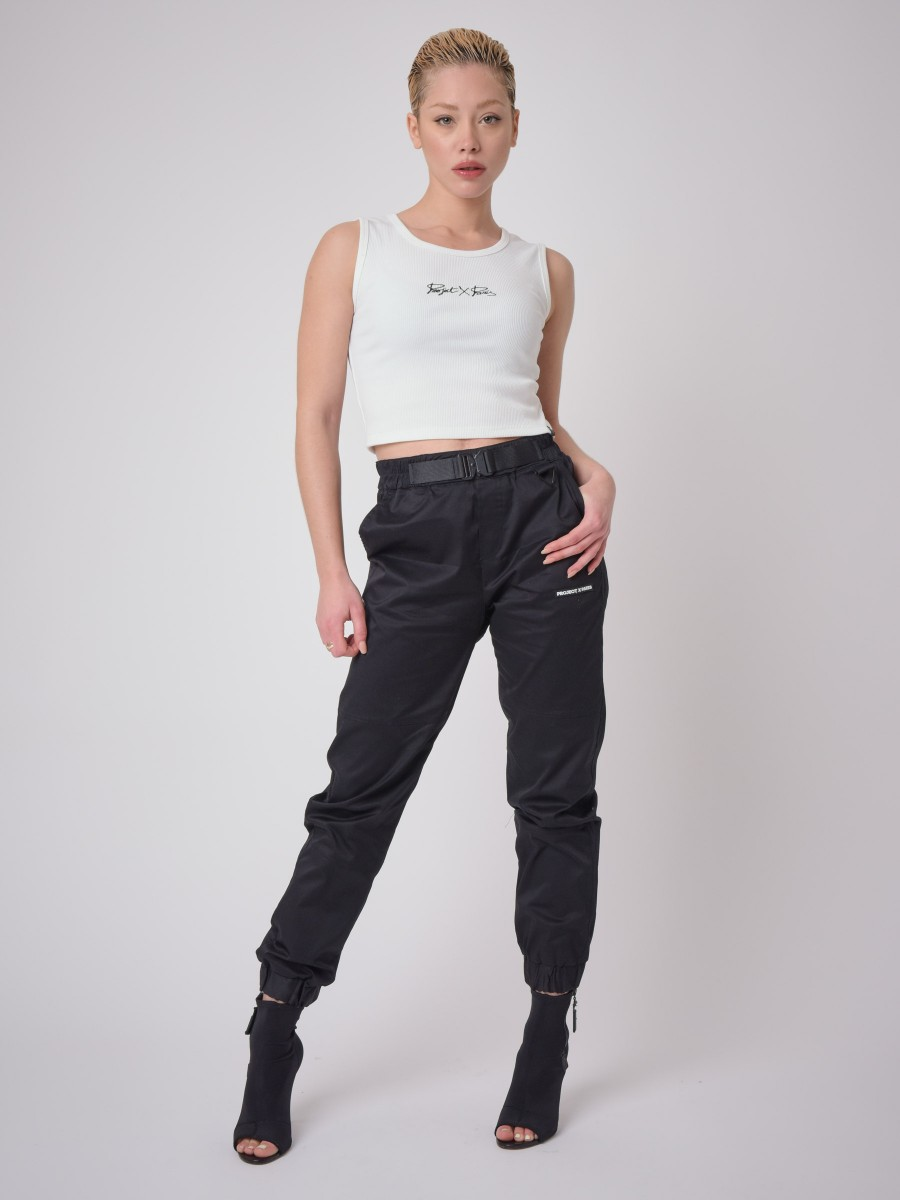 Ribbed Crop Top with Logo Embroidery