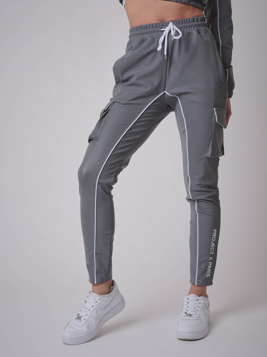 Contrast piping Jogger with reflcet style