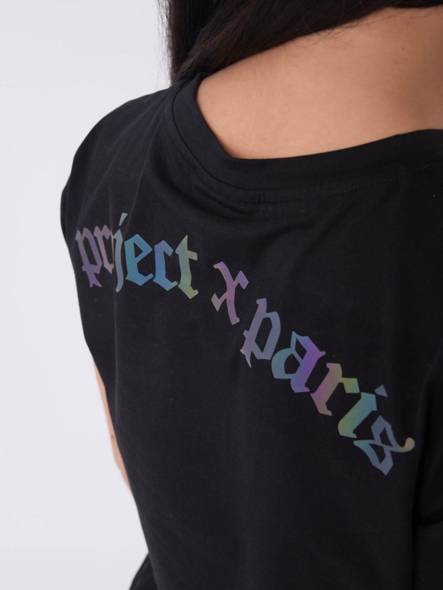 Rainbow reflective logo crop T-shirt
