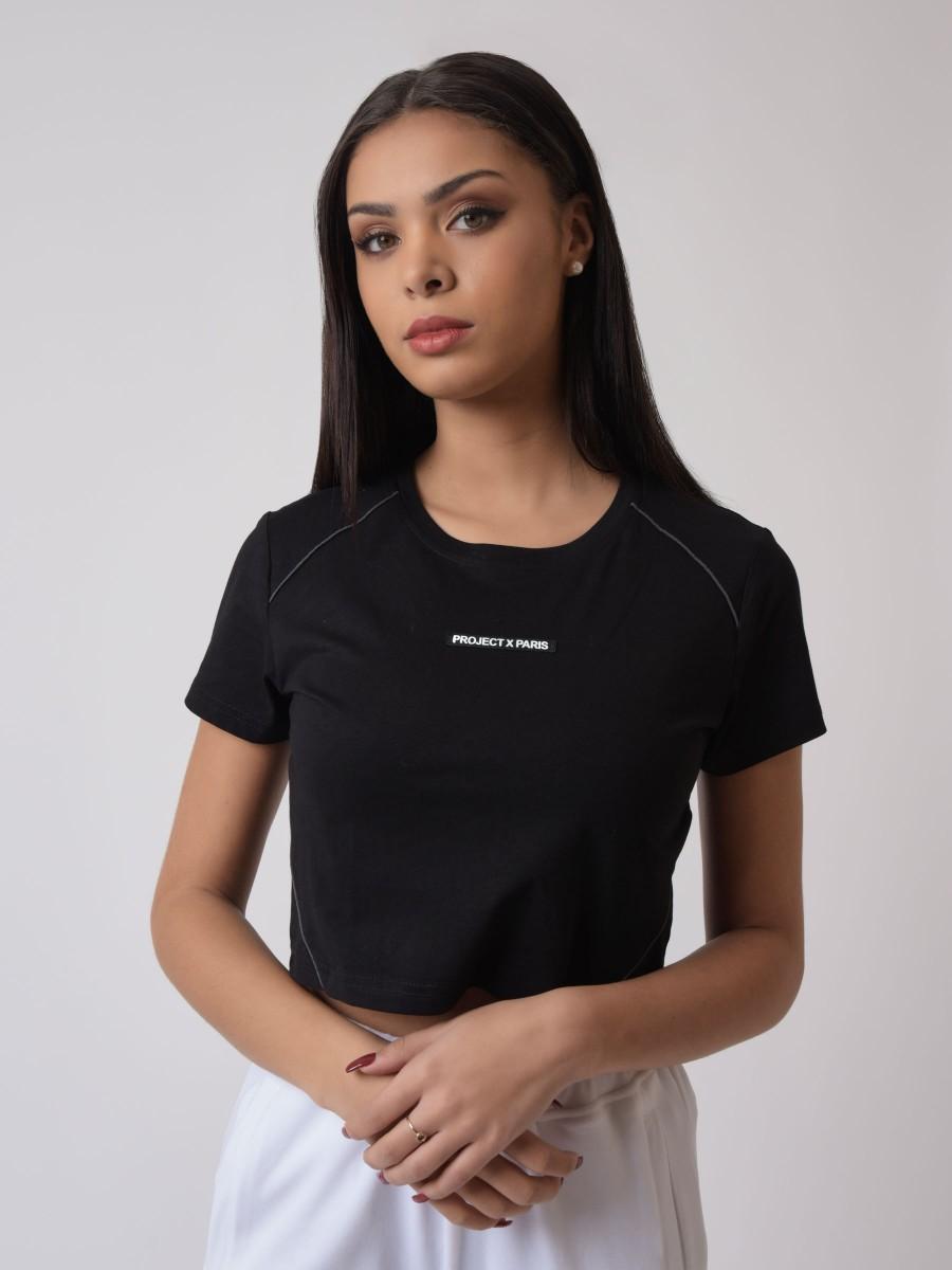 T-shirt crop avec pipings contrastés et logo silicone