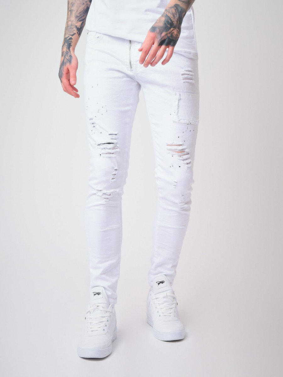 Skinny Jeans with Paint Splatter