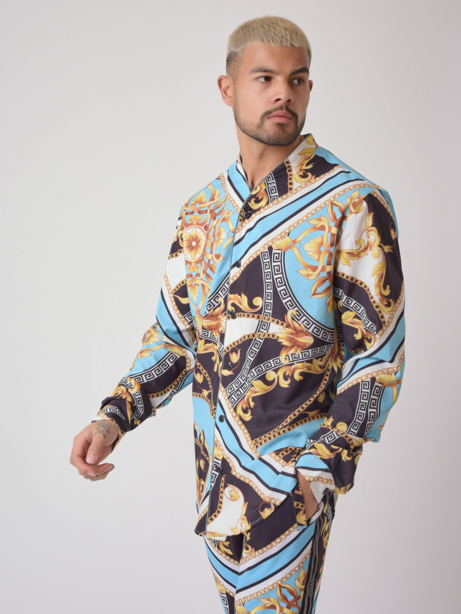 """Baba Collab"" Open-collar Long-sleeved Baroque Shirt"
