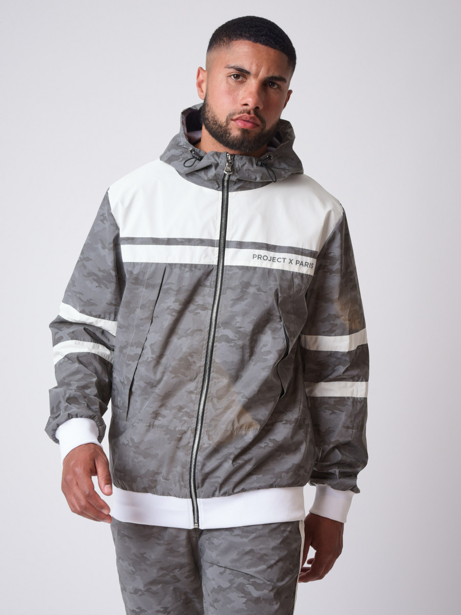 """Bi-material hooded jacket with camo reflect pattern """"CAMO REFLECT"""""""