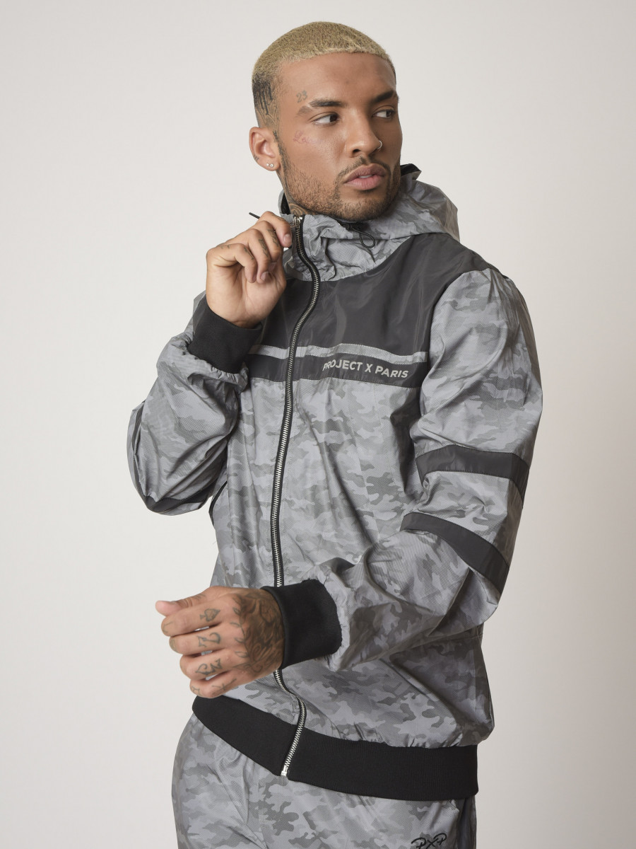 "Bi-material hooded jacket with camo reflect pattern ""CAMO REFLECT"""