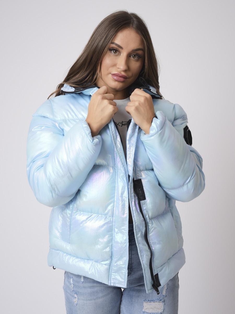 Loose iridescent effect puffer Winter Jacket