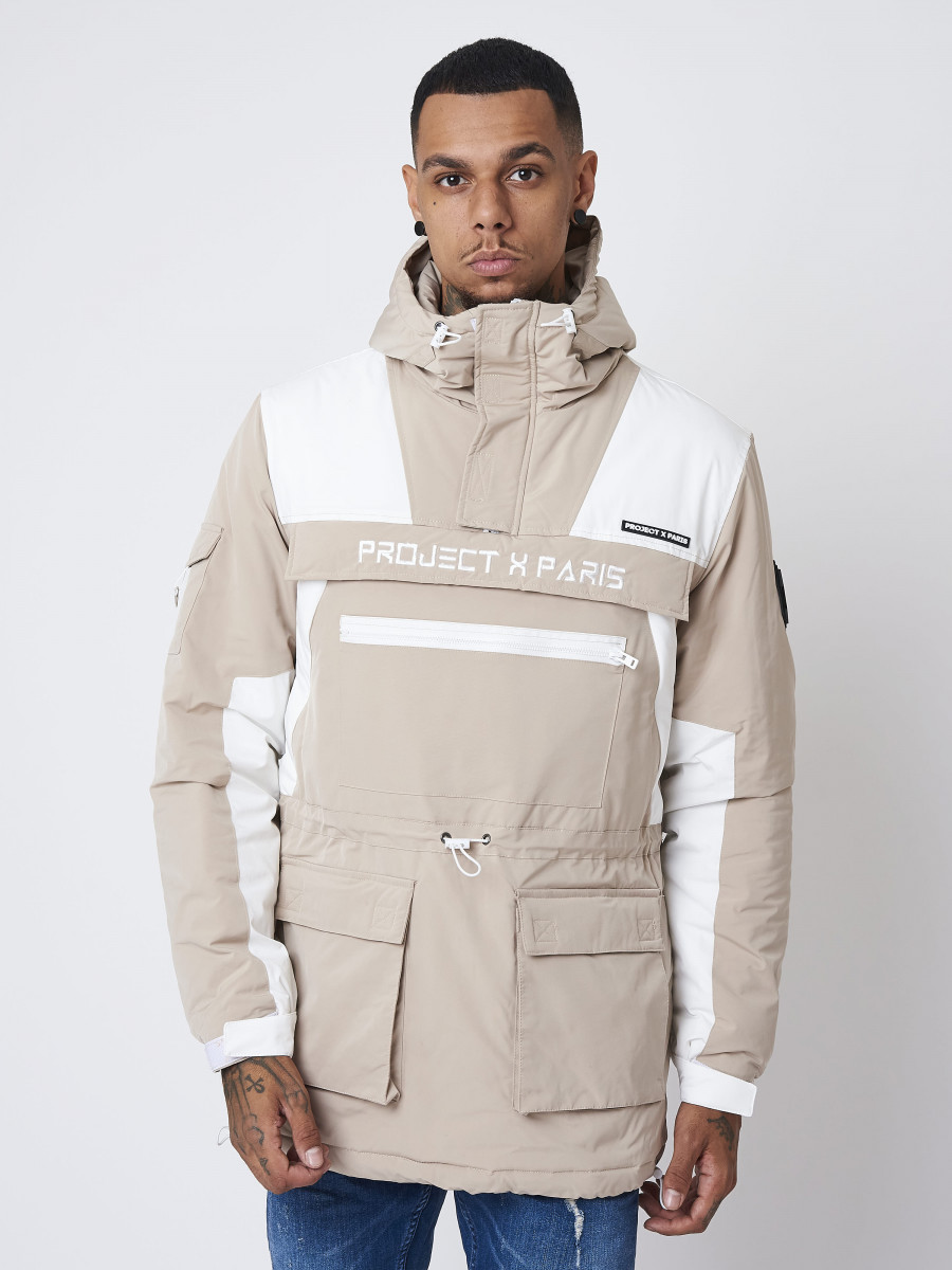 Manteau avec empiècement bi-matière poches plaquées