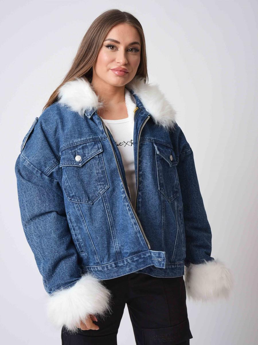Veste en jean avec effet fourrure aux manches et au col