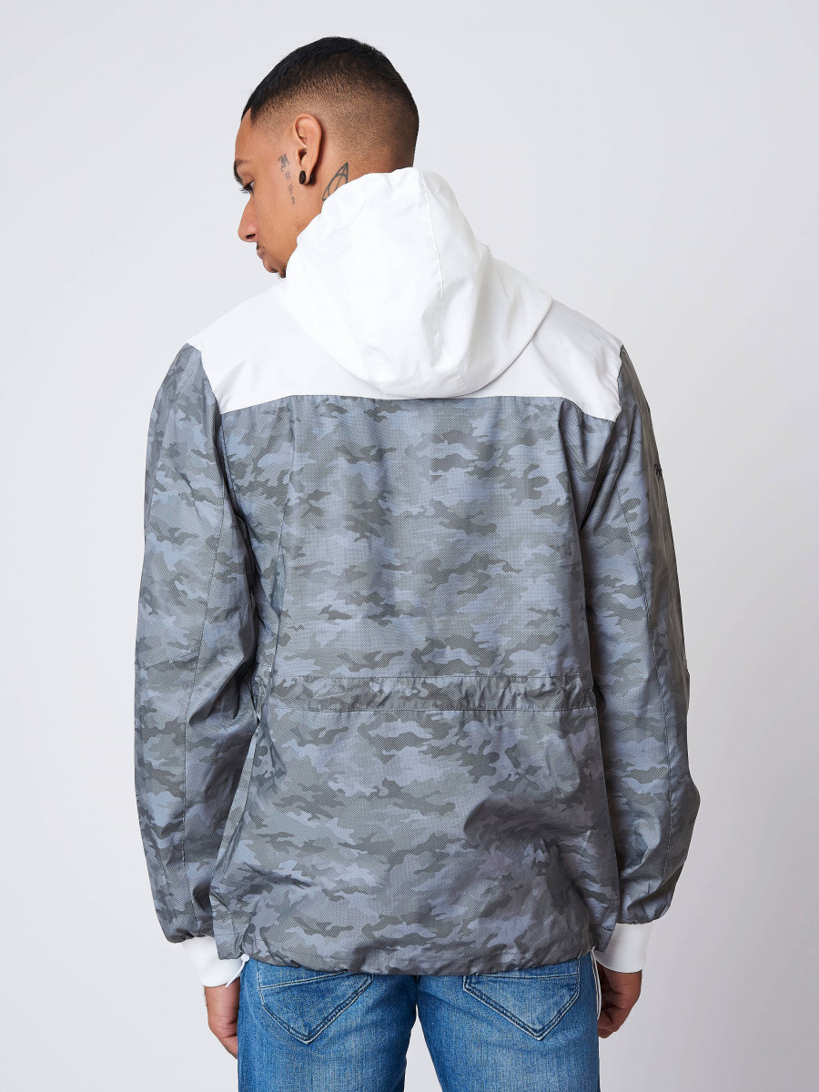 Coupe-vent à capuche motif camouflage...