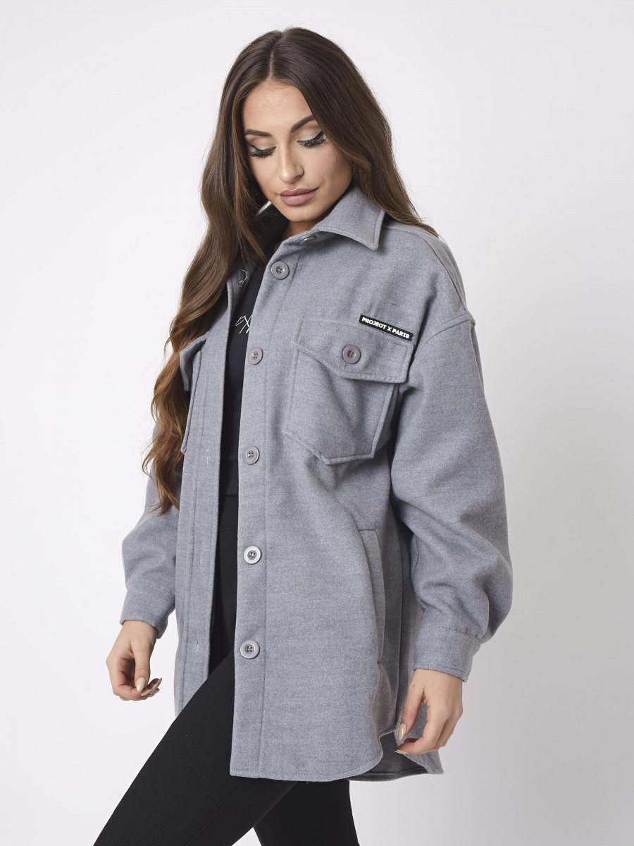 Thick solid-colored Overshirt
