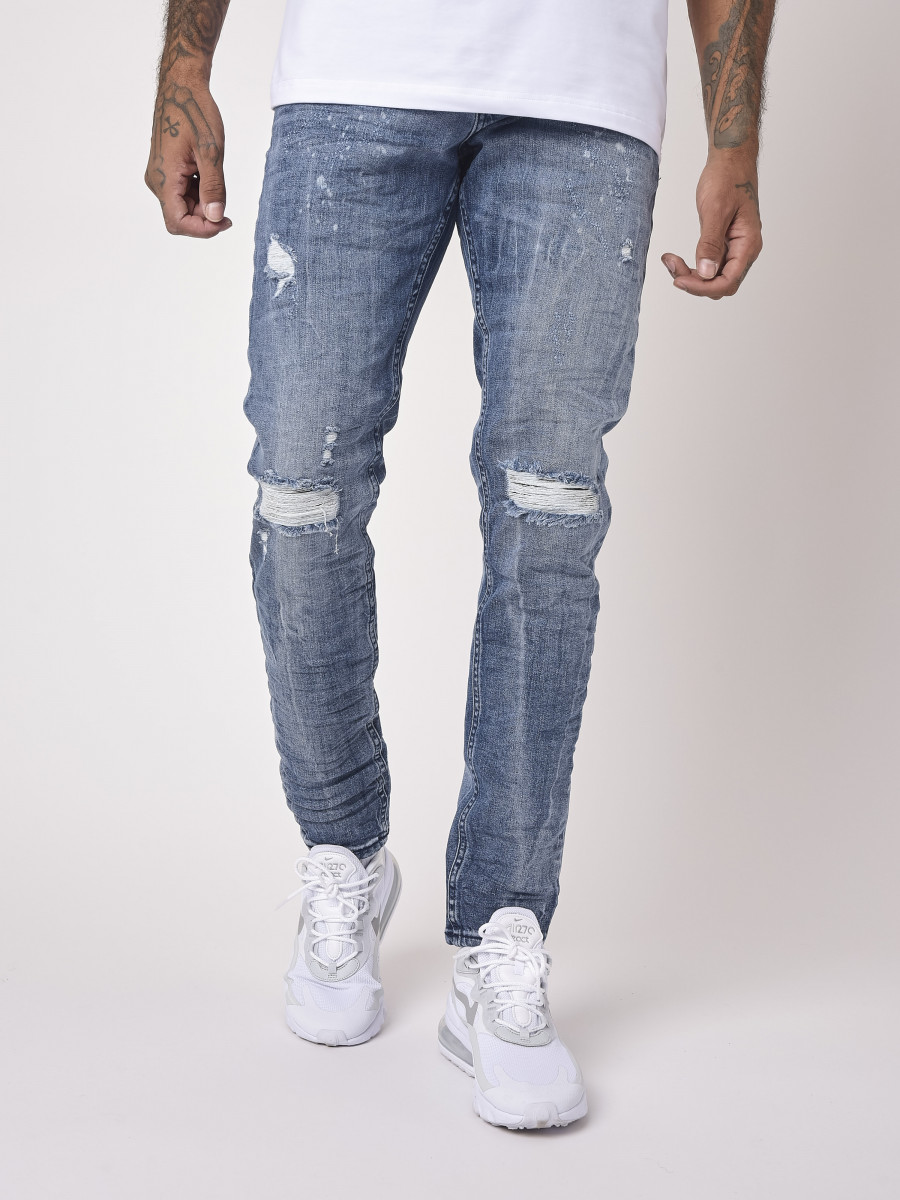 Blue grey Slim Jean with worn effect and holes