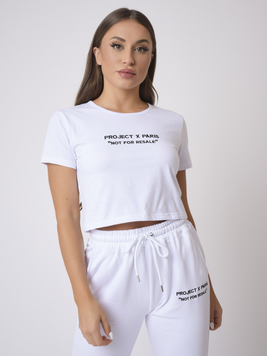 Cropped logo embroidery T-shirt