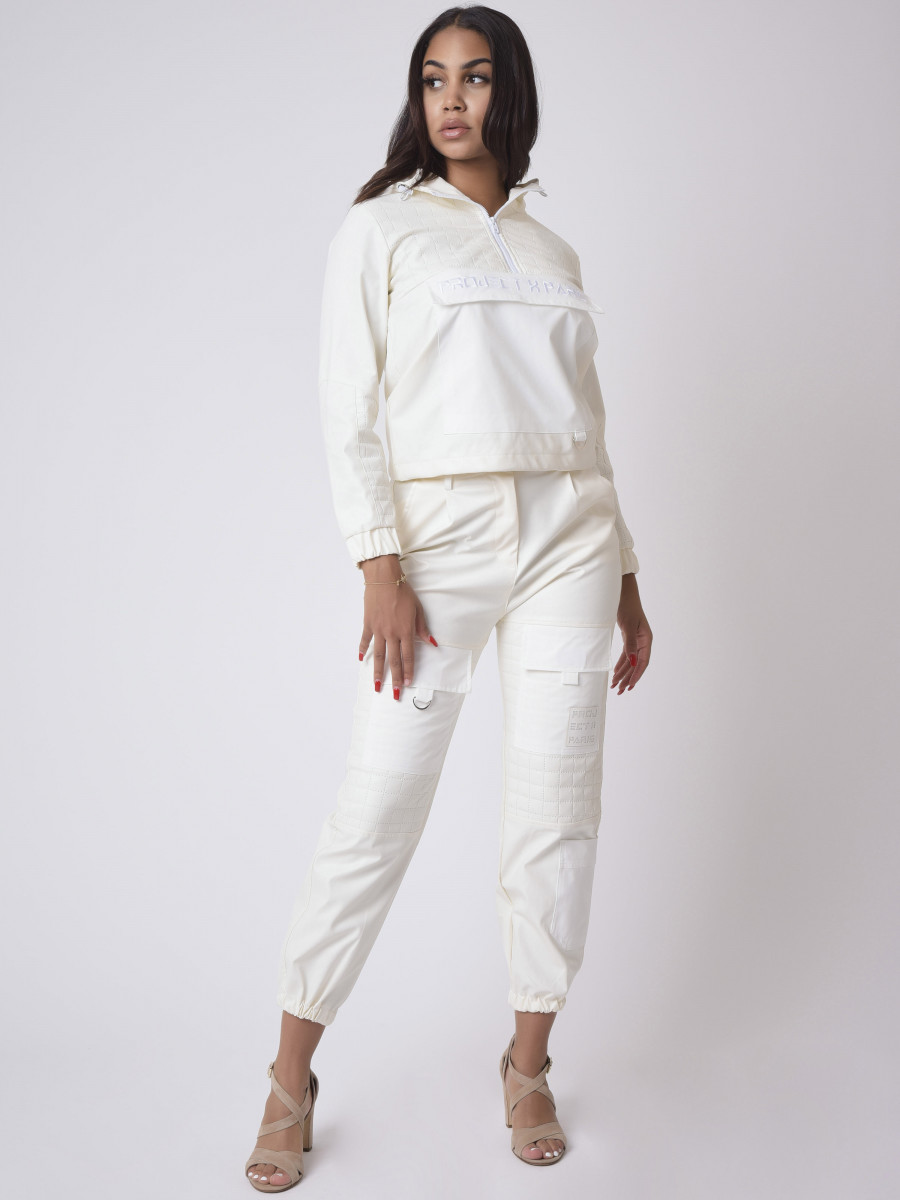 Square PU leather quilted Pant