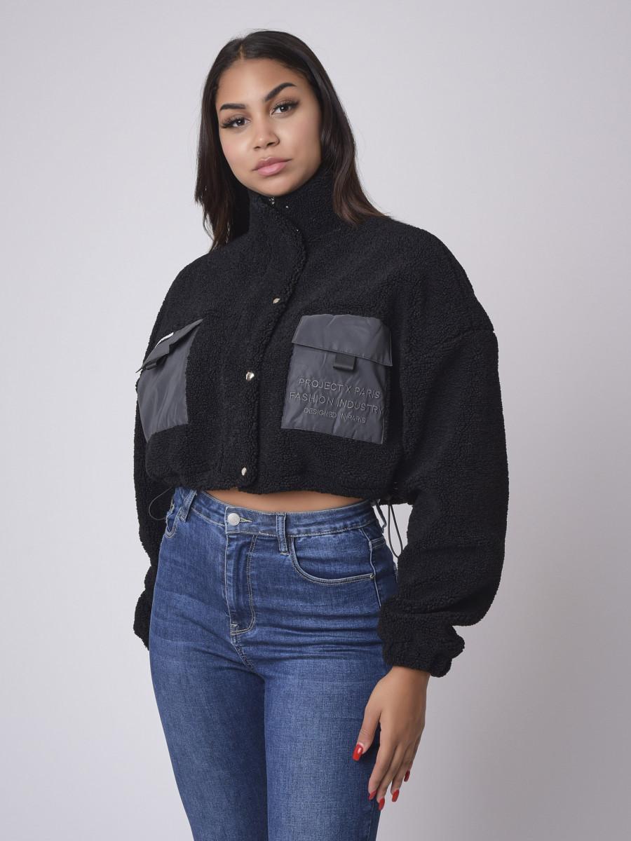 Cropped length Borg puffer Jacket