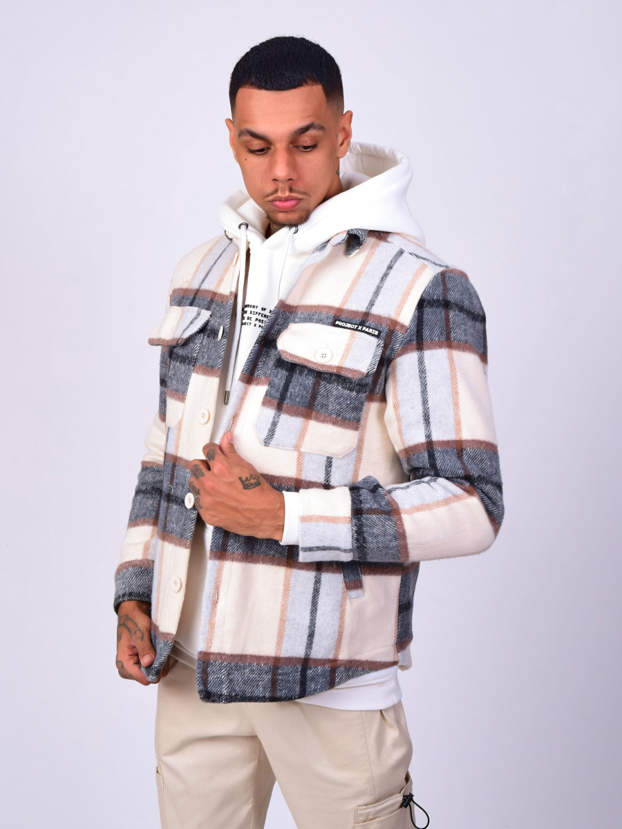 Unisex Overshirt with white, black and grey check pattern