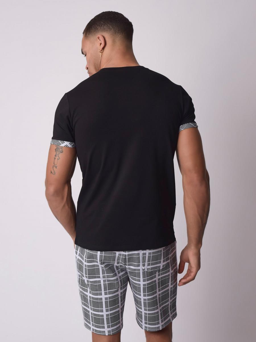 Tee-shirt empiècement carreaux