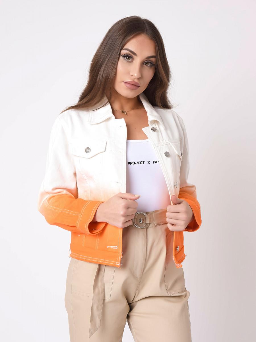Gradient Crop Denim Jacket