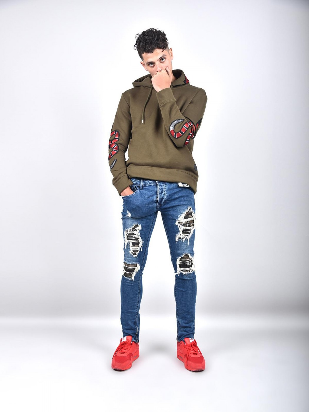 2b89b3e33a4d0 Men's Skinny Biker Jeans With Distressing And Camo Patch Project X Paris