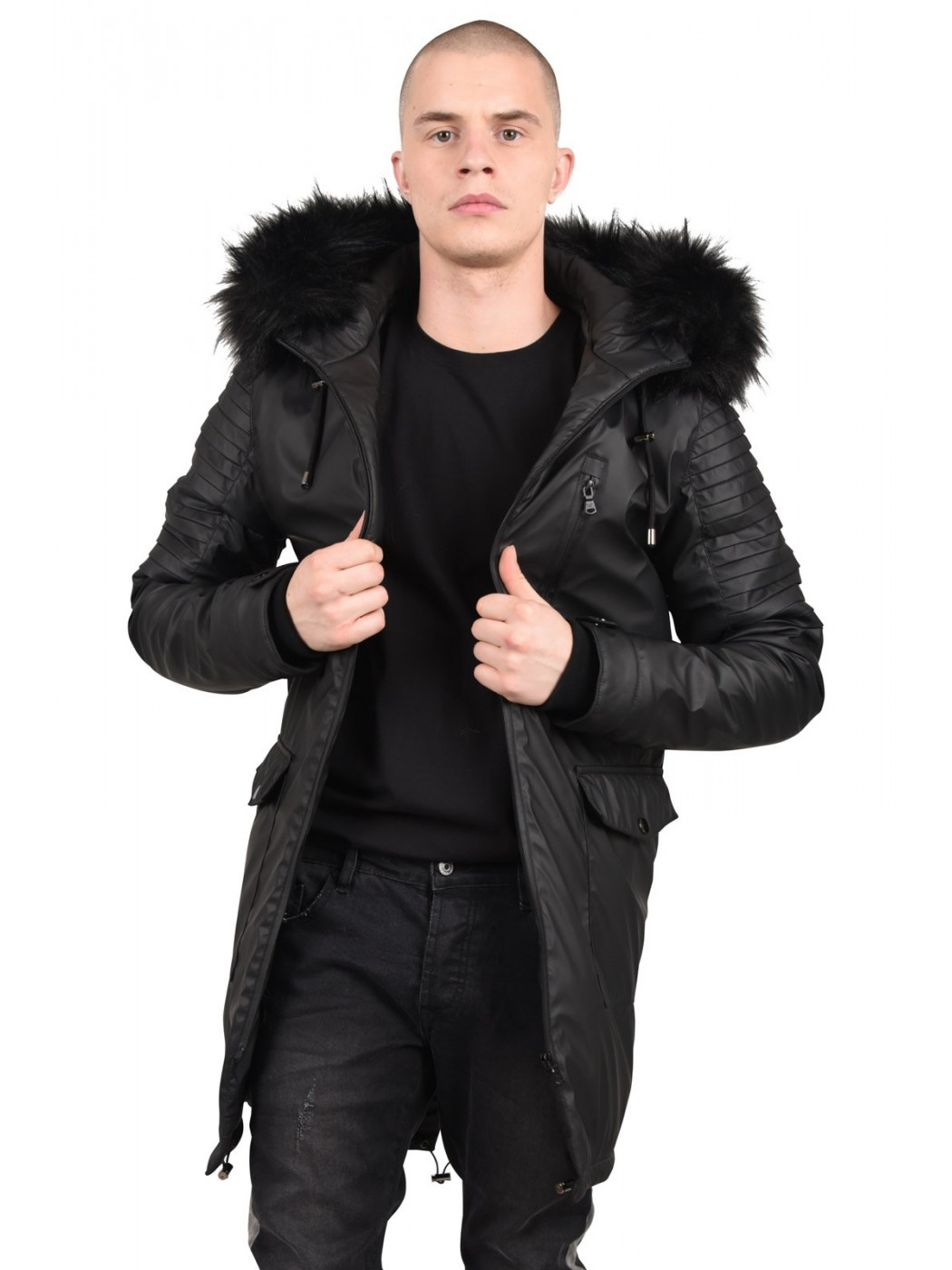 parka imperm able effet biker homme project x paris. Black Bedroom Furniture Sets. Home Design Ideas