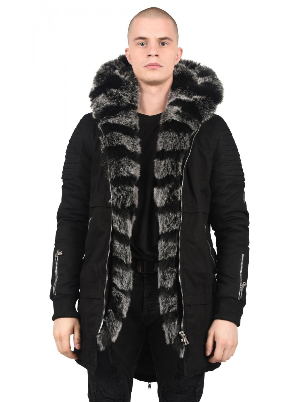 cotton parka jacket with faux fur hood and lining project x paris. Black Bedroom Furniture Sets. Home Design Ideas