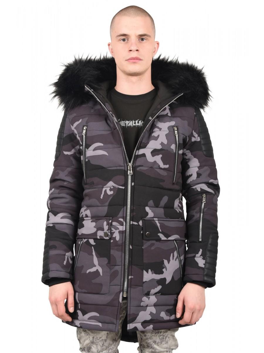 Parka Jacket with Camo Print