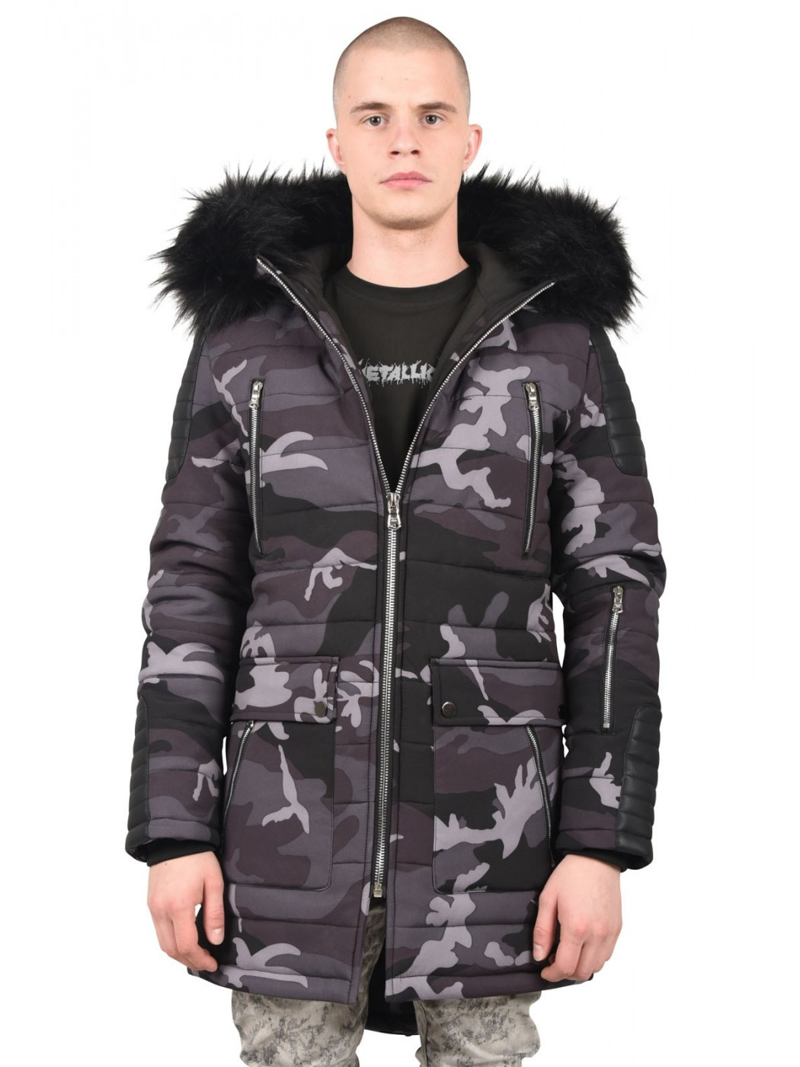 30b3bfedf0d57 Men's Parka Jacket with Camo Print Project X Paris