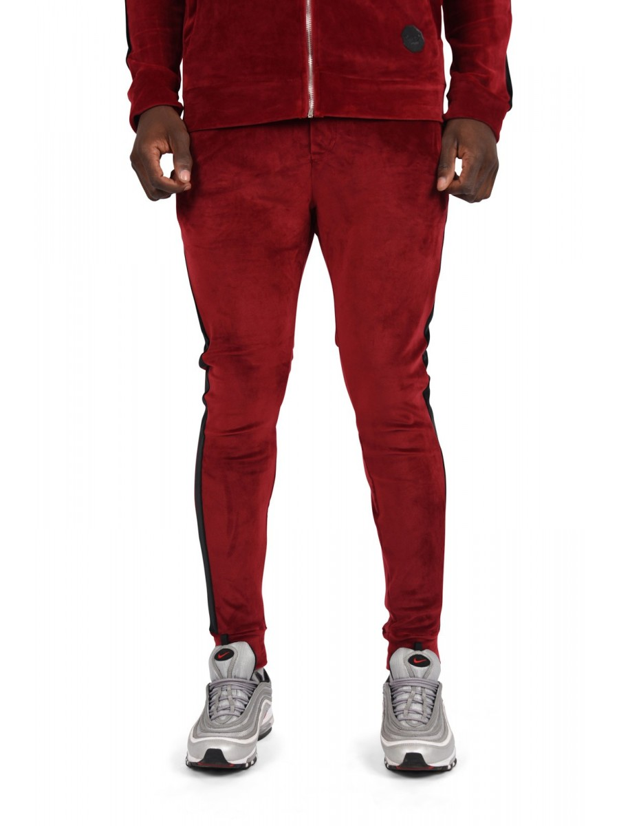 Velour Joggers with Side Stripe
