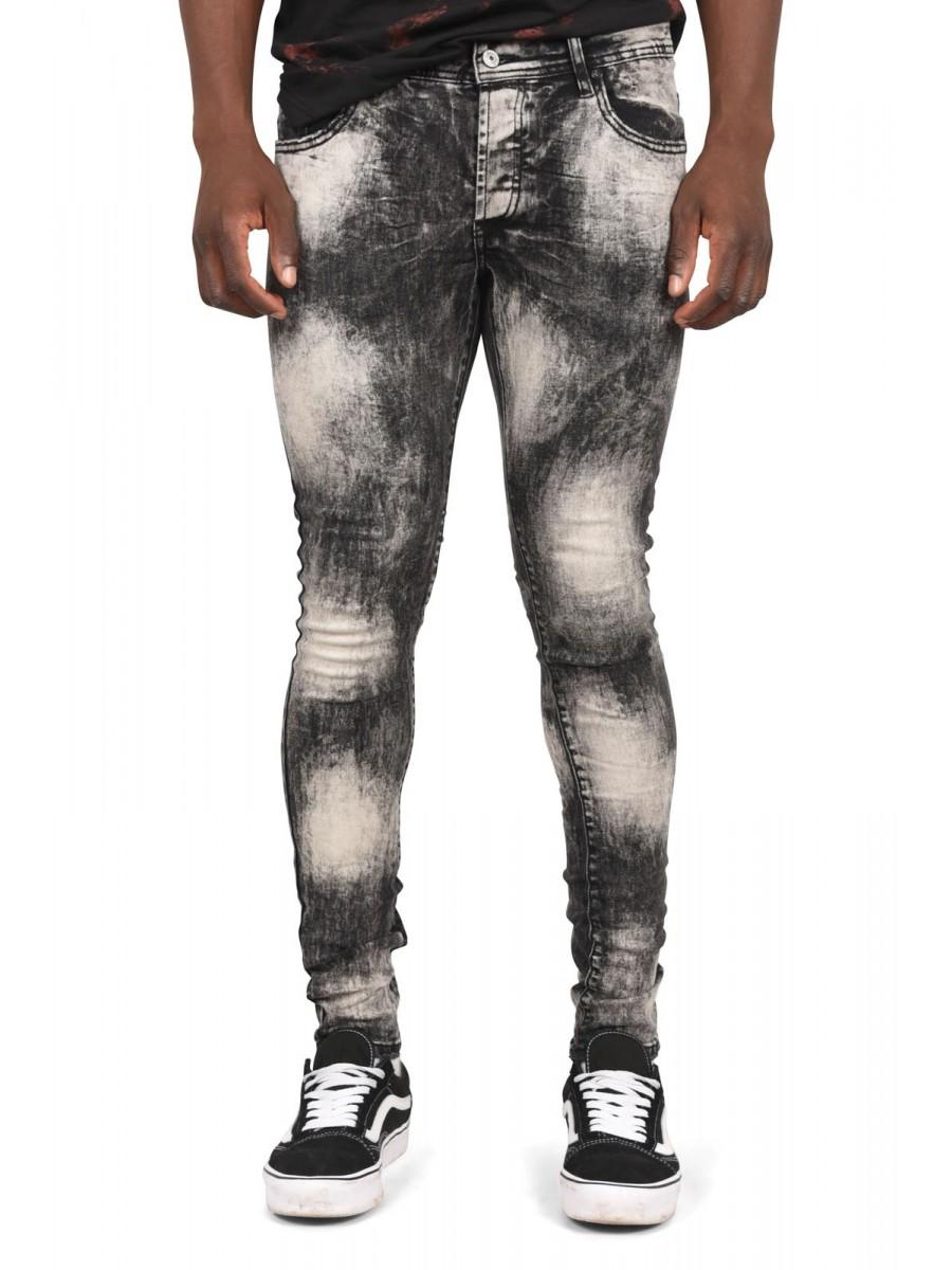 Skinny Fit Washed Denim Jeans in Black