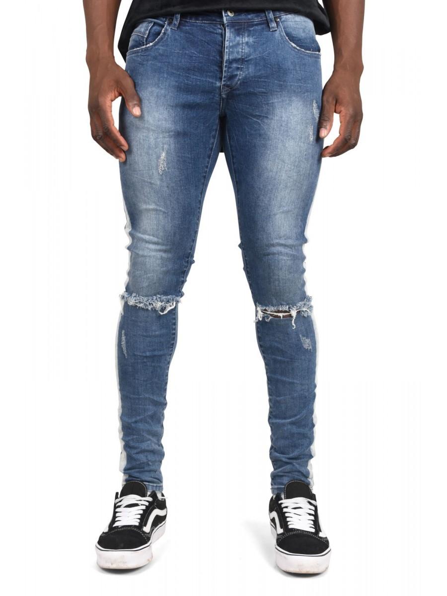 Jean slim effet destroy bande lat rale homme project x paris - Pantalon bande laterale homme ...