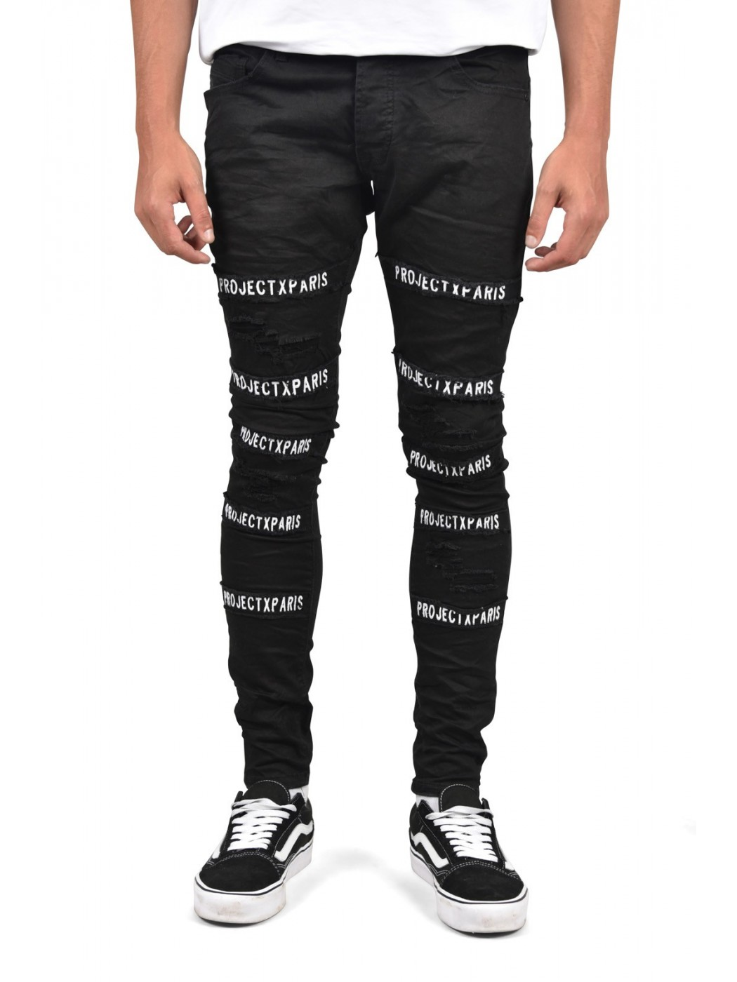 Skinny Black Jeans With Patches Project X Paris