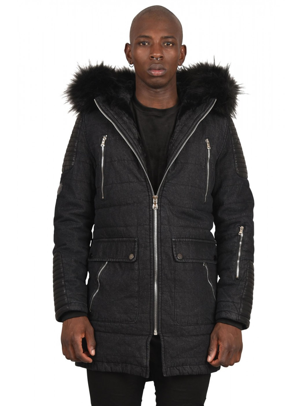 denim parka jacket with detachable fur project x paris. Black Bedroom Furniture Sets. Home Design Ideas
