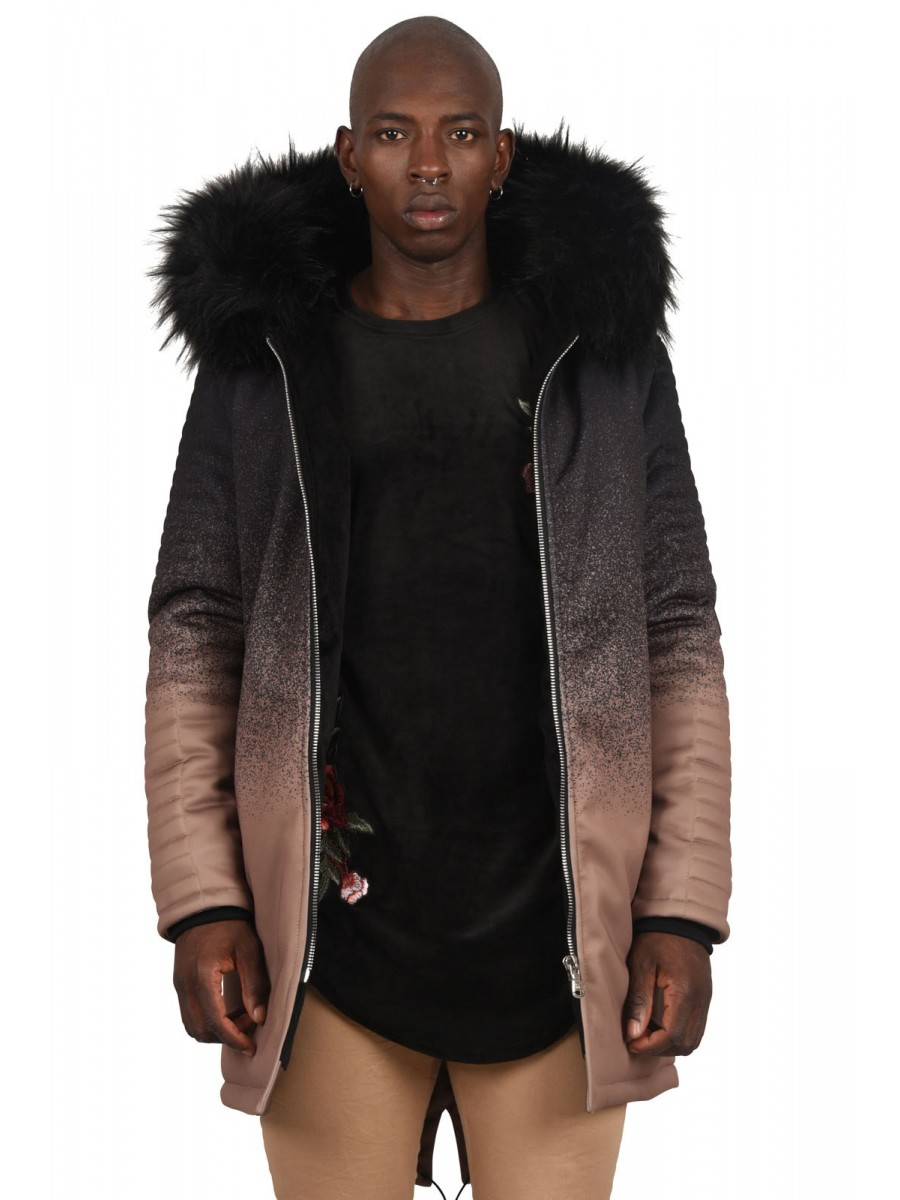 Parka with Spray Paint Effect