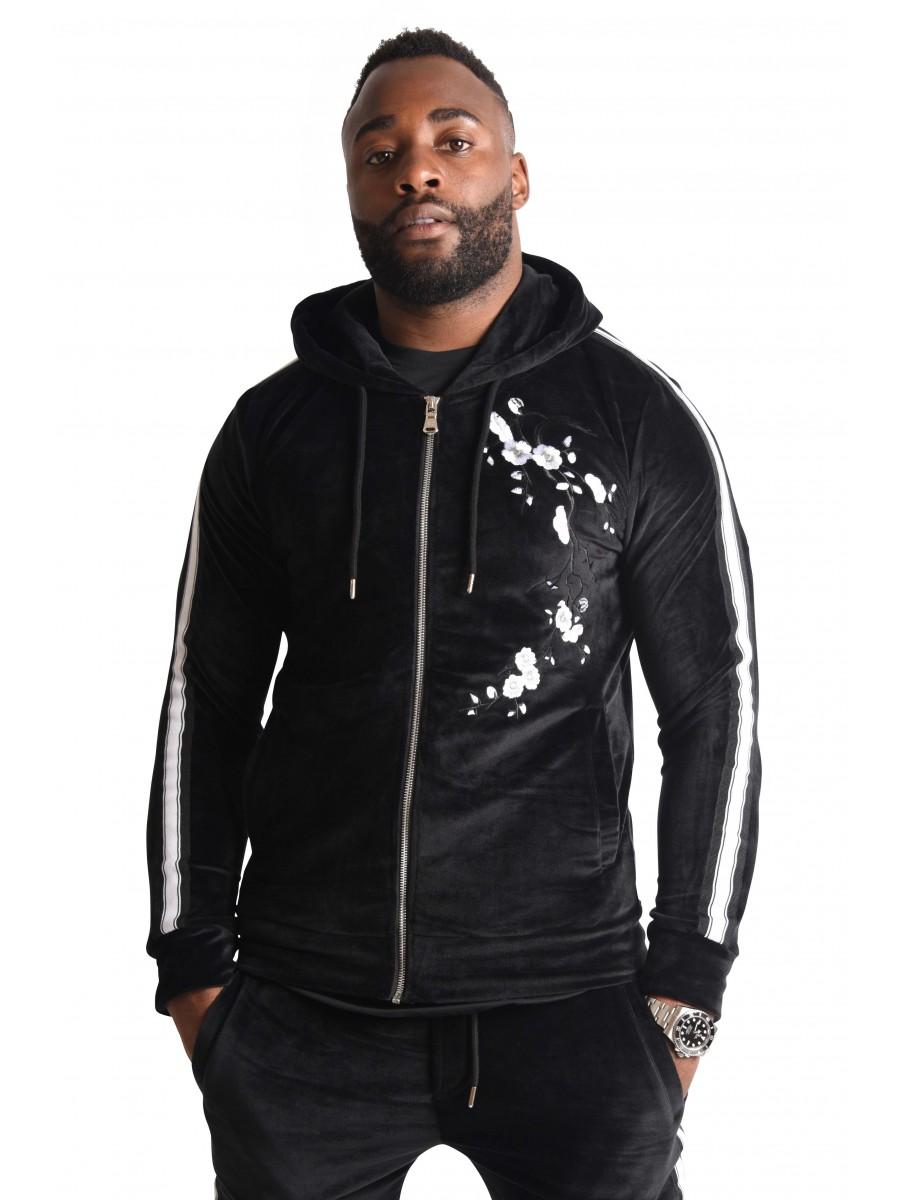 15e1d2fed Zip-up Velour Jacket with Floral Patch Capsule Collection Gradur for  Project X Paris