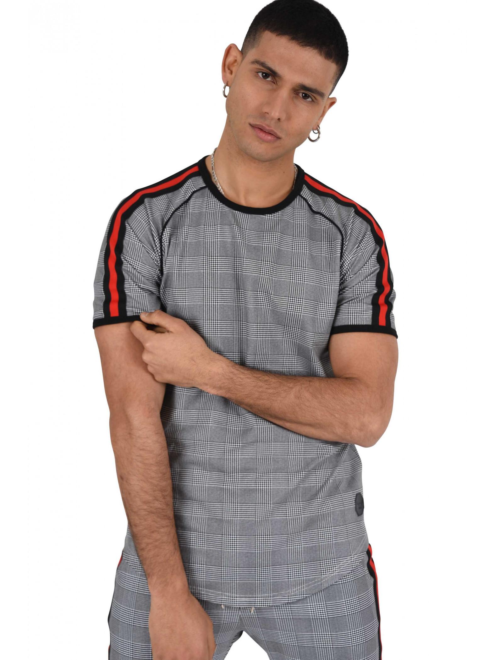 tee shirt motif pied de poule homme project x paris. Black Bedroom Furniture Sets. Home Design Ideas