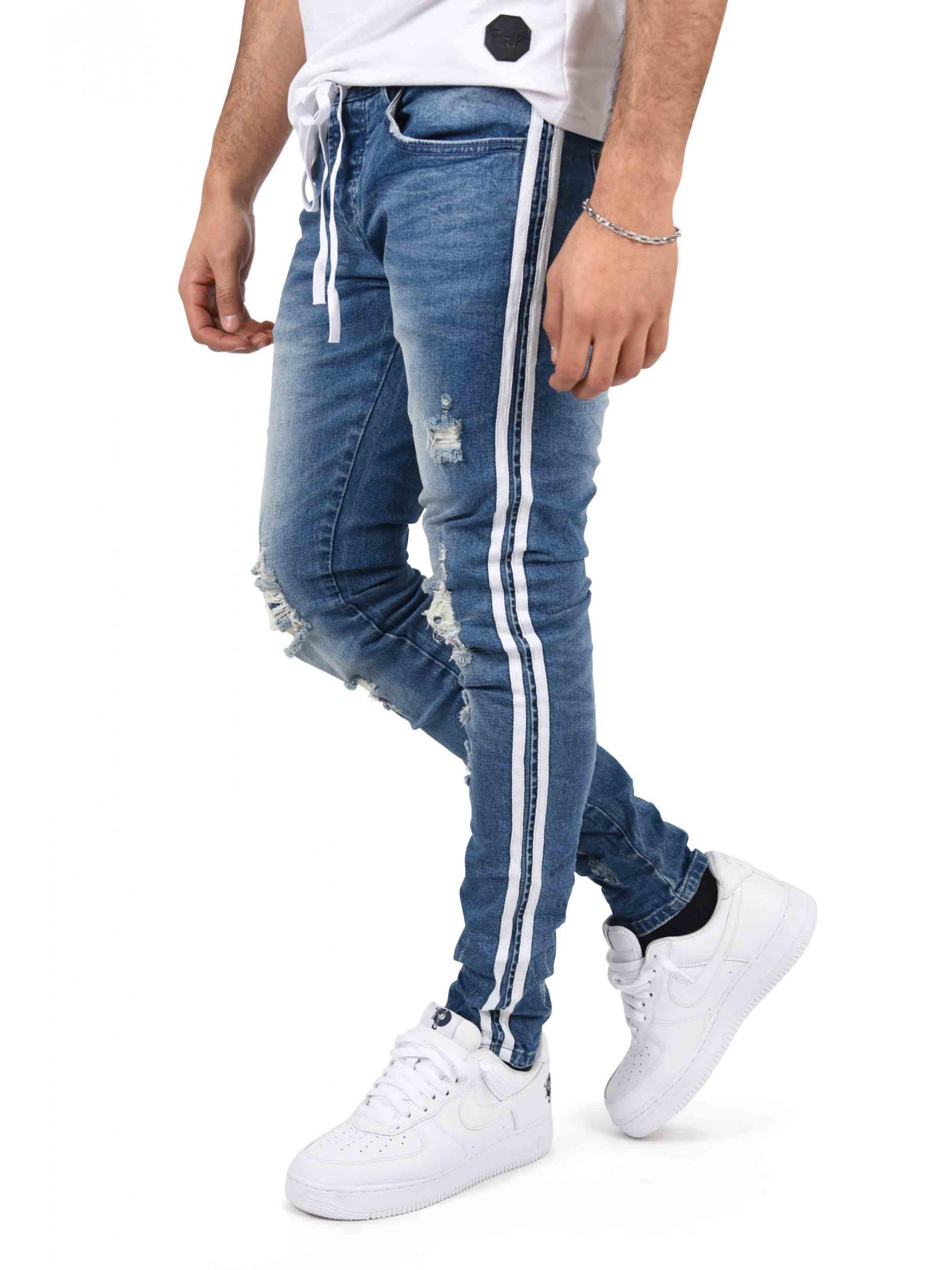 jean skinny destroy ceinture lacet et bandes sur les. Black Bedroom Furniture Sets. Home Design Ideas