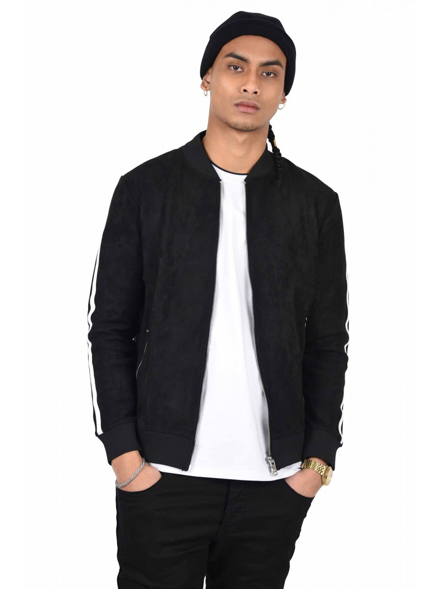 8d959a15a Suede Bomber Jacket with Double Side Stripe