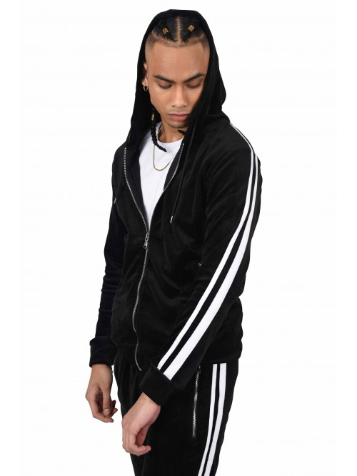 Zipped velour hoodie double stripes at sides Project X Paris
