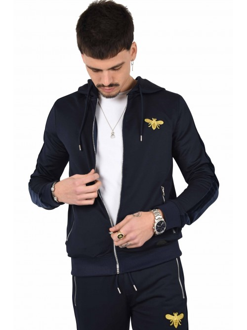 Veste bimatière velvet patch abeille Homme Project X Paris