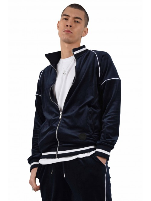 Zipped velour jacket with contrast collar Project X Paris
