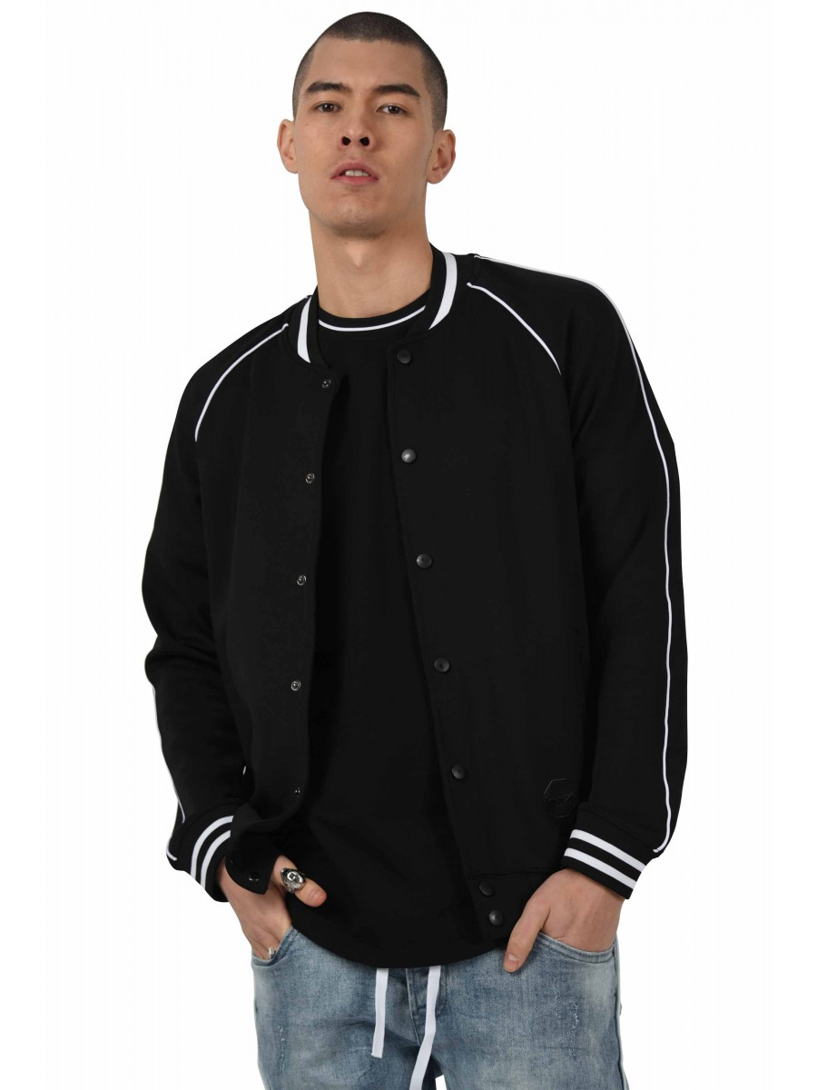 466051b22 Two-Tone bomber Jacket with Piping