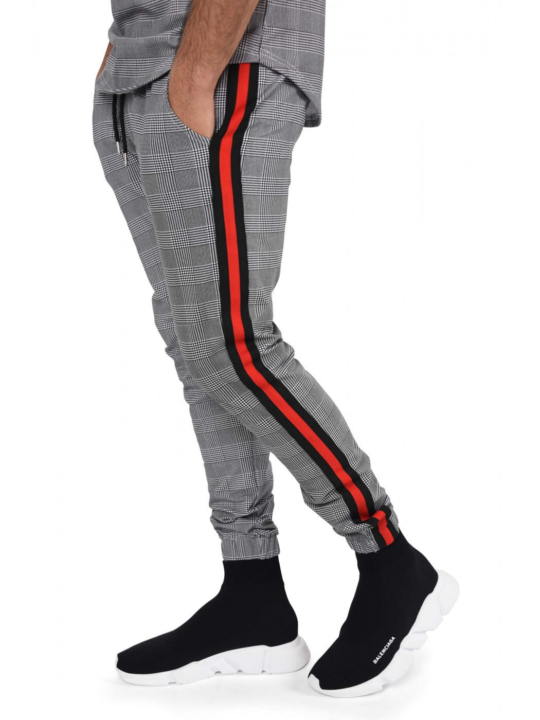 pantalon jogging carreaux et bandes contrastantes homme. Black Bedroom Furniture Sets. Home Design Ideas