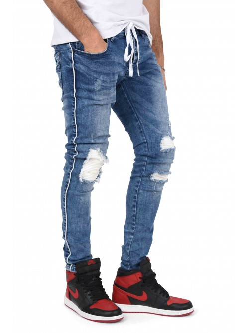 Skinny jeans with stitched biker lining and laced-up belt Project X Paris
