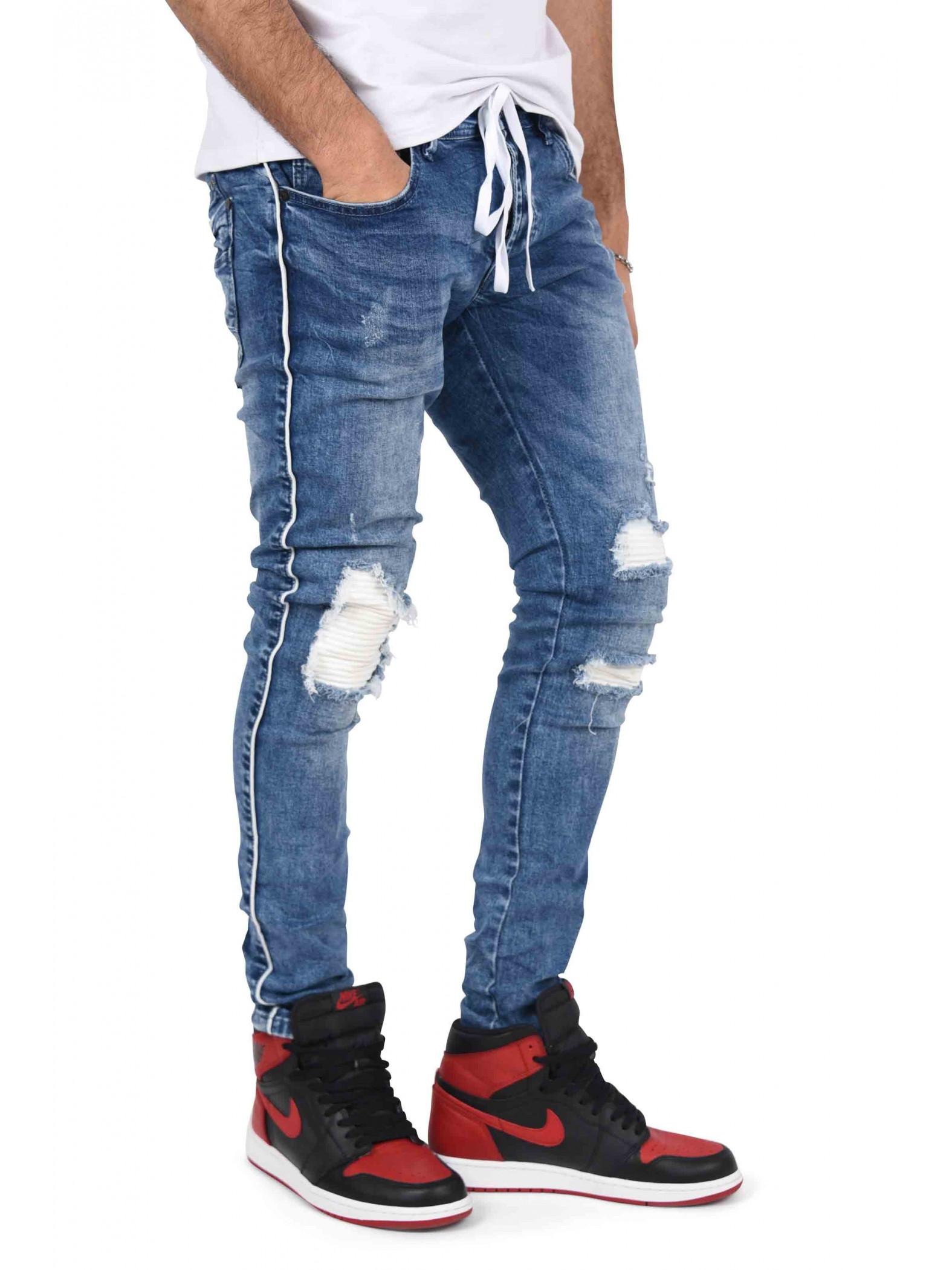10e398454a7 Jean skinny doublure biker et ceinture lacet Homme Project X Paris ...
