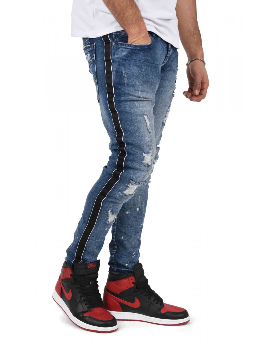 Paint Sprayed Skinny Jeans with Contrasting Stripe