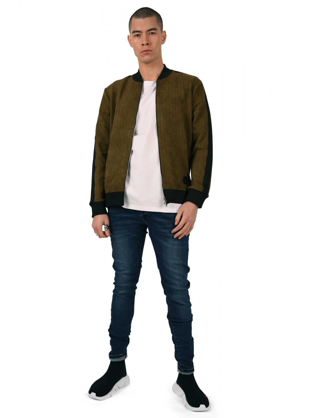 fa9235fd Men's Pinstriped Suede Bomber with Contrasting Stripe Project X Paris