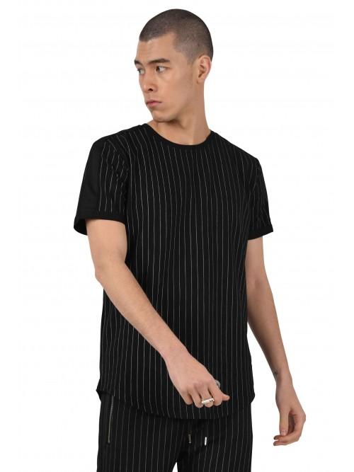 Tee shirt à rayures tennis et bandes contrastantes Homme Project X Paris