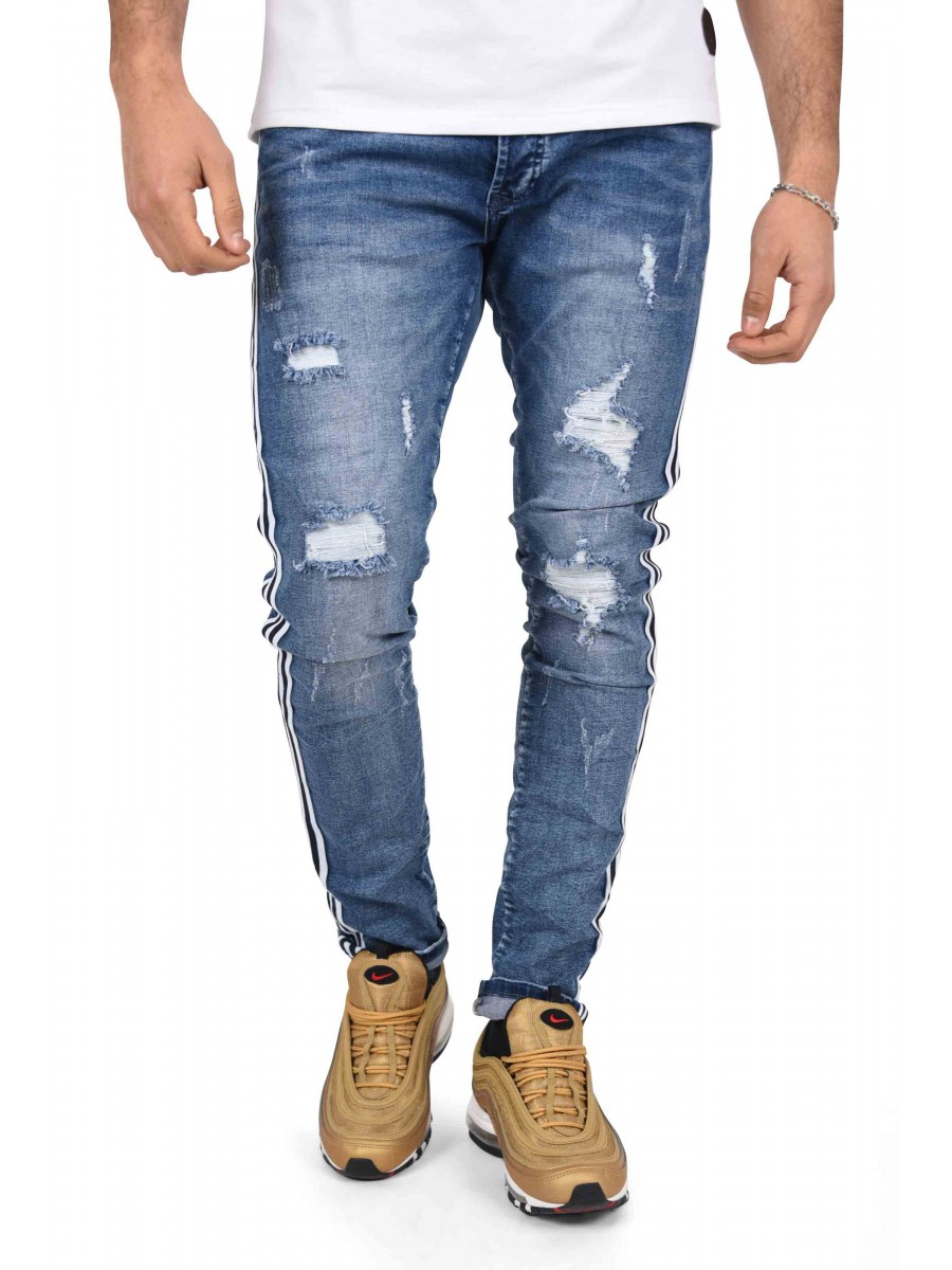 best service d91f7 ccb1c Distressed Skinny Jeans with Contrasting Two-Tone Stripes