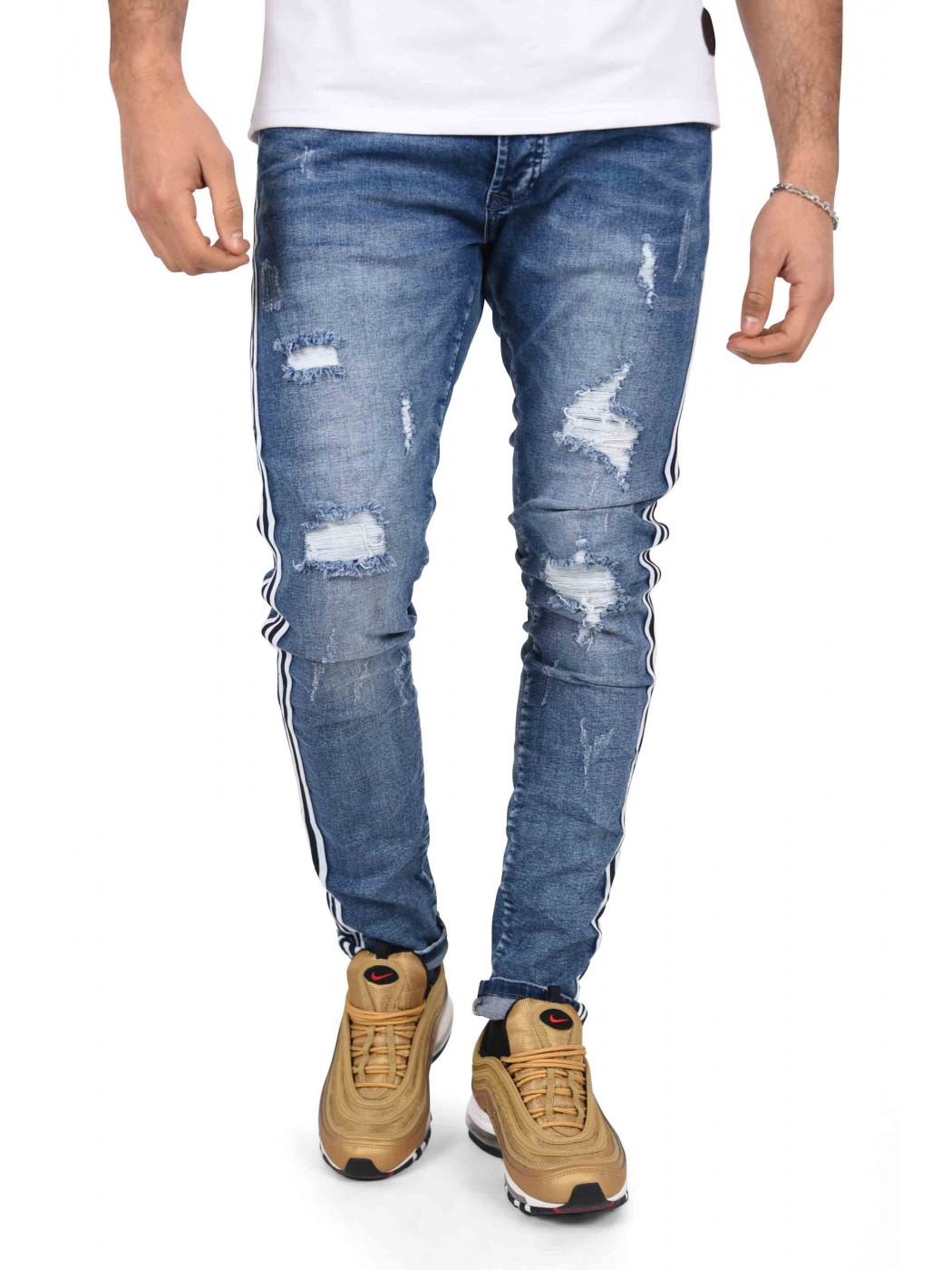 Distressed Skinny Jeans With Contrasting Two Tone Stripes Project X