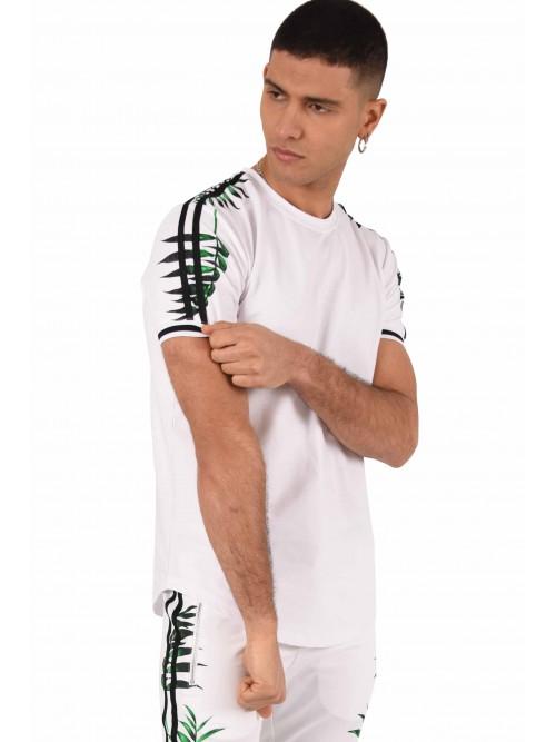 Tee shirt col rond imprimé tropical double bande Homme Project X Paris