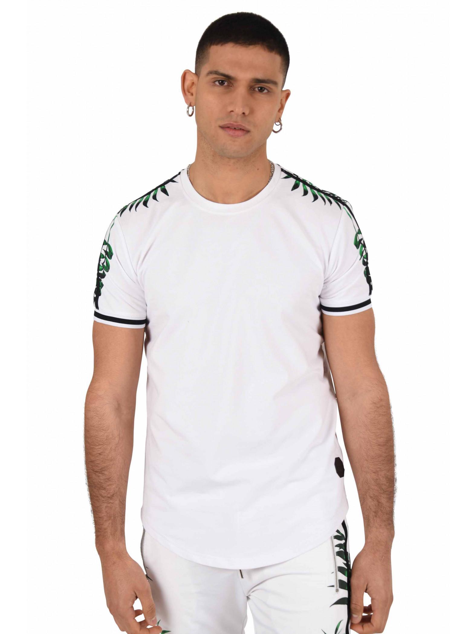 3e440b32610d Tee shirt col rond imprimé tropical double bande Homme Project X Paris.  SOLDES