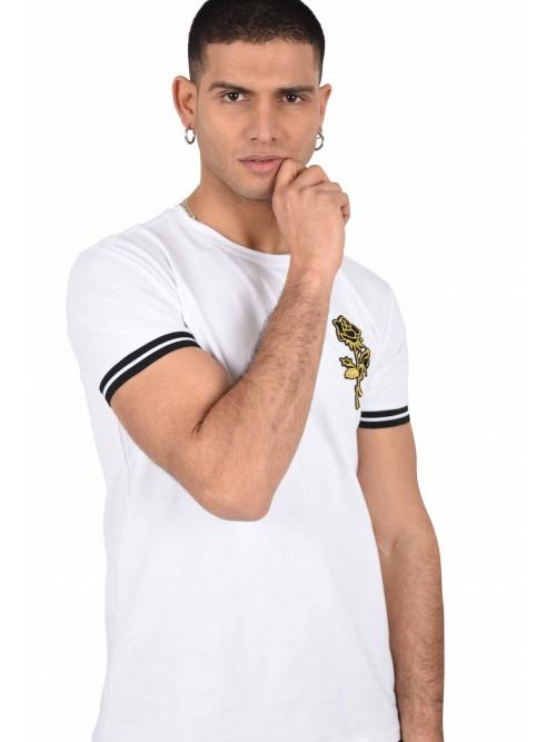 Tee shirt patch rose dorée et manches bicolores Homme Project X Paris